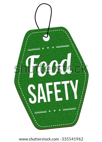Food safety green leather label or price tag on white background, vector illustration - stock vector