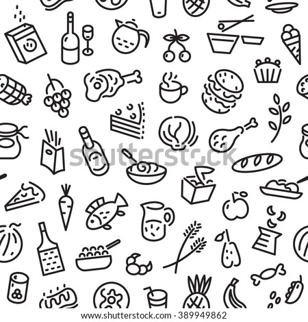 food seamless background - stock vector