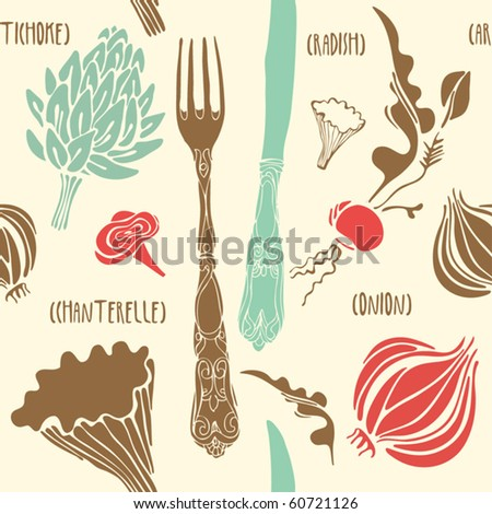 stock vector food seamless doodles pattern vector illustration 60721126 - Каталог — Фотообои «Еда, фрукты, для кухни»