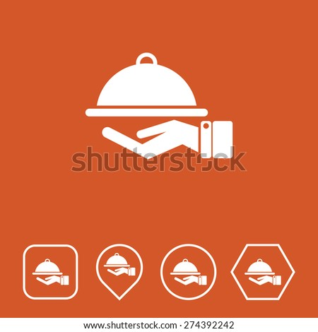 Food Service Icon on Flat UI Colors with Different Shapes. Eps-10. - stock vector