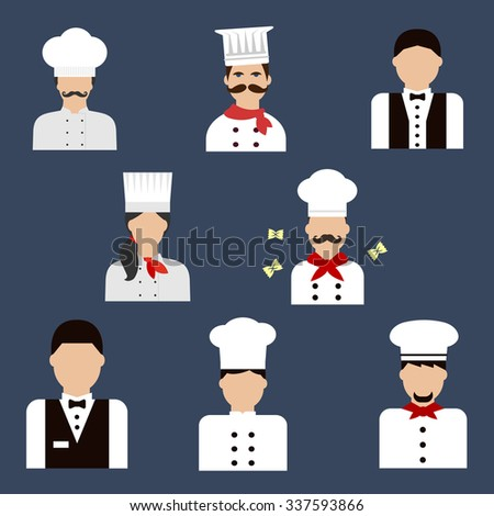 Food service profession flat icons with chefs, bakers in uniform tunics and hats and waiters in elegant vests with tie bows - stock vector