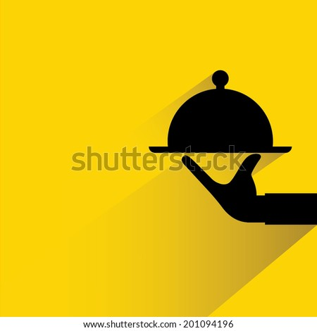 food serving on yellow background, shadow and flat theme - stock vector
