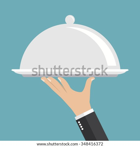 Food serving tray. Silver tray in hand waiter. Vector illustration, flat style. - stock vector