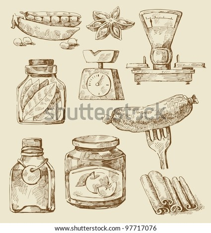 food set - stock vector