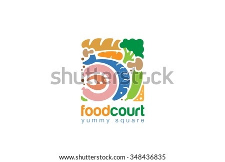 Food Set Gourmet Square Logo Shop Stock Vector (Royalty ... Grocery Store Logos Free