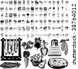 Food set of black sketch. Part 7-1. Isolated groups and layers. - stock vector