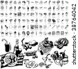 Food set of black sketch. Part 9-1. Isolated groups and layers. - stock vector