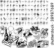 Food set of black sketch. Part 9-2. Isolated groups and layers. - stock vector