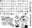 Food set of black sketch. Part 1-2. Isolated groups and layers. - stock vector