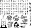 Food set of black sketch. Part 1-4. Isolated groups and layers. - stock vector