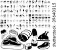 Food set of black sketch. Part 2-4. Isolated groups and layers. - stock vector
