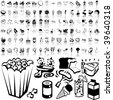 Food set of black sketch. Part 3-4. Isolated groups and layers. - stock photo