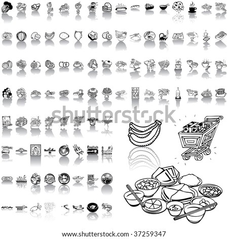 Food set of black sketch. Part 1. Isolated groups and layers. - stock vector