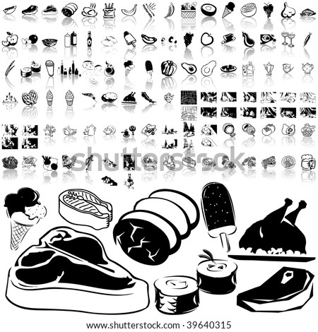 Food set of black sketch. Part 2-4. Isolated groups and layers.