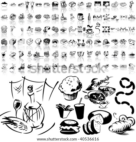Food set of black sketch. Part 6-6. Isolated groups and layers.