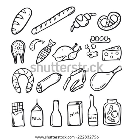 Food set sketch black and white - stock vector