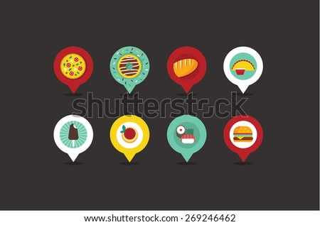 food shop map pointers - stock vector