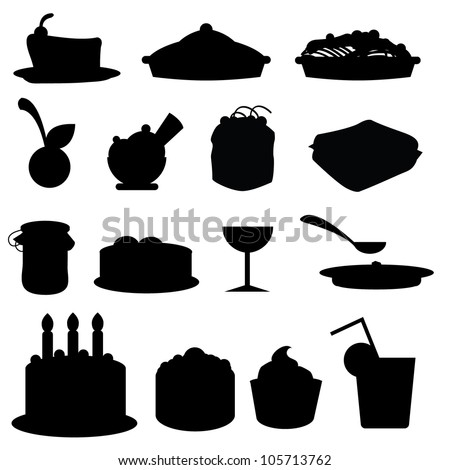 food silhouettes icons for birthday, restaurant, events and others - stock vector