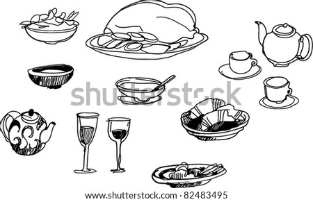 food sketch - stock vector