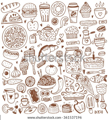 Food sketch elements collection. Vector illustration in vintage style. - stock vector
