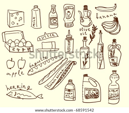 Food sketch style - stock vector
