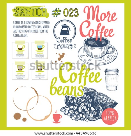 Food sketchbook with coffee in sketch style. Vector cup, bag with beans and brush calligraphy elements for your menu design.