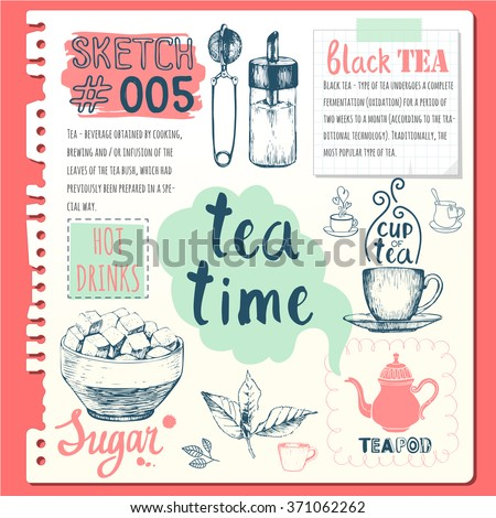 Food sketchbook with homemade tea party illustrations. Cup, sugar bowl, spoon and teapot in sketch style. Traditions of tea time. Decorative elements for your design.  - stock vector