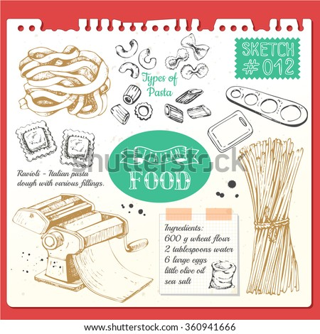 Food sketchbook with pasta sketch style. Italian homemade traditional food. Vector illustration with pasta machine, pasta, ravioli. Sketch design on white background.  - stock vector