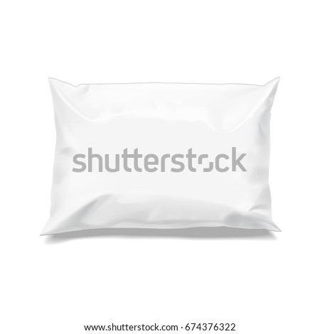 Food snack pillow Small Realistic package. Polyethylene packing of goods. Mock up for brand template. vector illustration.
