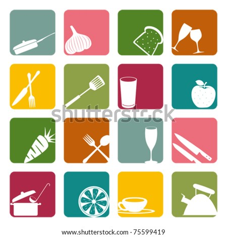 Food square icons set. Illustration vector. - stock vector