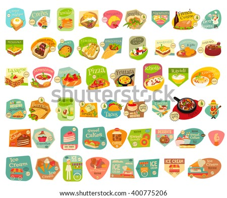 Food Stickers Big Set on White Background. Meal Labels Collections. European Cuisine. Mexican Food. Dessert Collections. Vector Illustrations. - stock vector