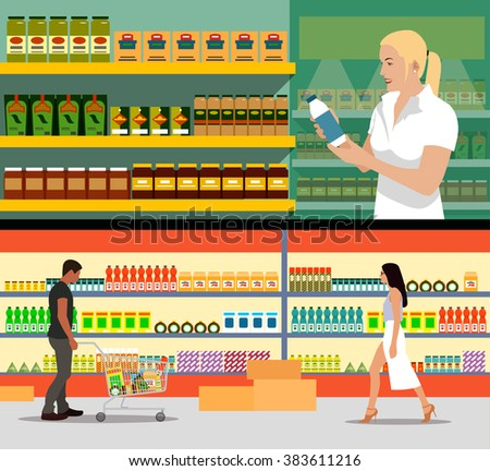 Food store interior vector illustration in flat style. Customers buy products in supermarket. Groceries and foodstuff on shelves. People shopping. - stock vector