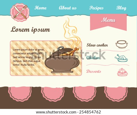 Food Template for web site - stock vector