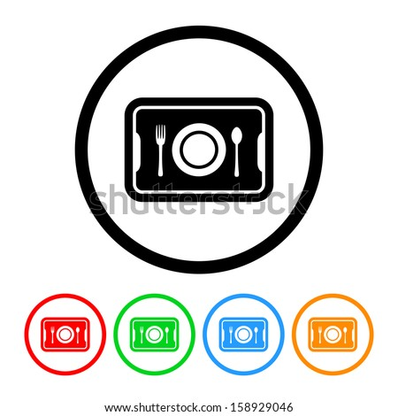 Food Tray Icon with Color Variations - stock vector