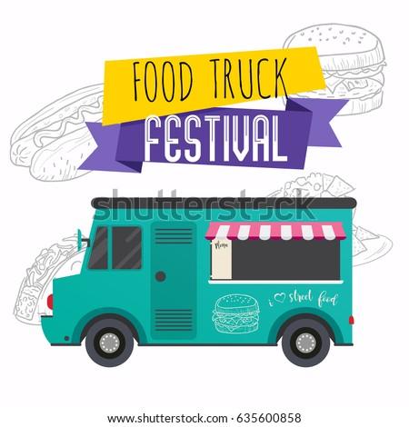 food truck festival brochure flat design stock vector 635600858 shutterstock. Black Bedroom Furniture Sets. Home Design Ideas