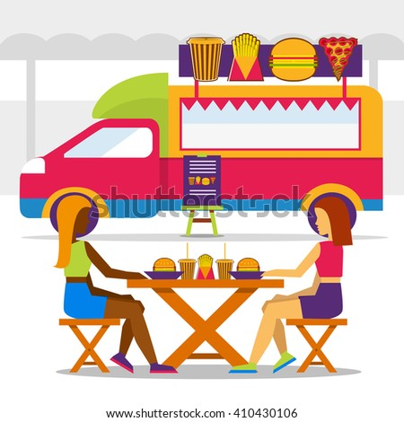 Food truck festival. Food truck with girls in seating area and eating food. - stock vector