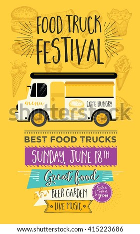 Food truck festival menu food brochure, street food template design. Vintage creative party invitation with hand-drawn graphic. Vector food menu flyer. Hipster menu board. - stock vector