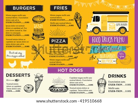 Food truck festival menu food brochure stock vector for Food truck menu design