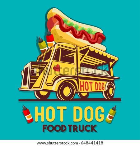 Food Truck Street Logo For Hot Dog Fast Delivery Service Or Festival Van