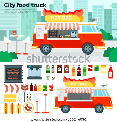 Food truck vector flat illustrations. Food truck on the street in the city. Retro truck with fast food. Break and rest concept. Junk food, beverages, sausages and oven isolated on white background - stock vector
