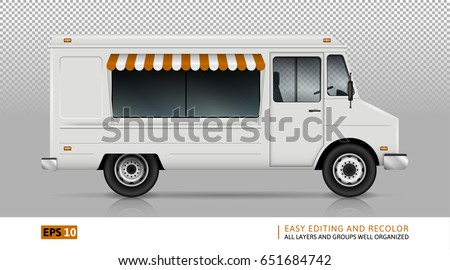 Food Truck Vector Template For Car Branding And Advertising Isolated Delivery Van On Transparent Background