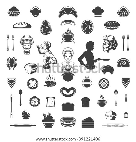 Food Vector Design Elements. Chef Woman and Man Silhouette Isolated On White Background. Vector object for Labels, Badges, Logos Design. Barbecue, Meat and Bakery Icons, Cupcakes and Breads Symbols. - stock vector