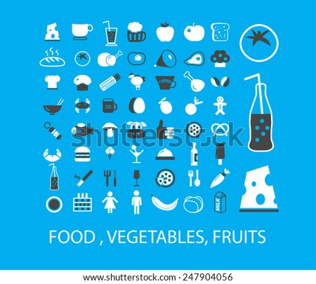food, vegetables, fruits, cafe, restaurant icons, signs, illustrations set, vector - stock vector