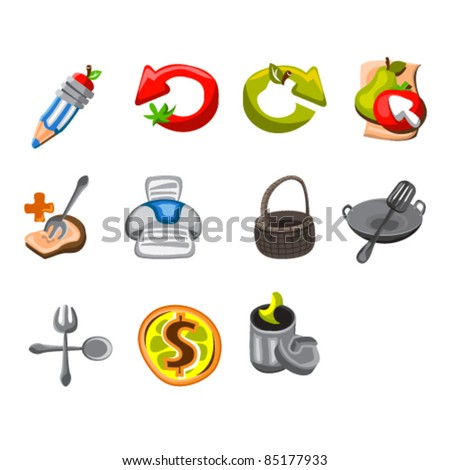 Food Version Of Computer Icon Set - stock vector