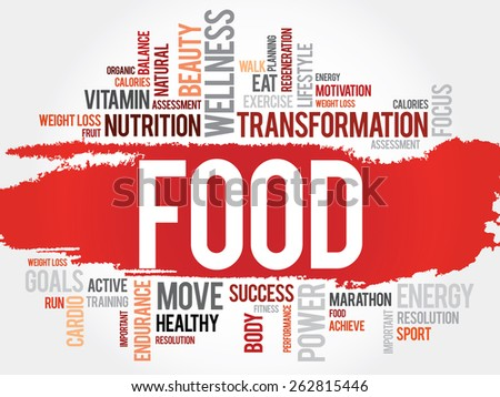 FOOD word cloud, fitness, sport, health concept - stock vector