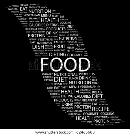 FOOD. Word collage on black background. Vector illustration. - stock vector