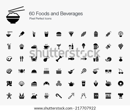 Foods and Beverages Pixel Perfect Icons - stock vector