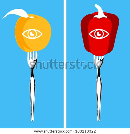 Foods for healthy eyes, Illustrator, vector - stock vector