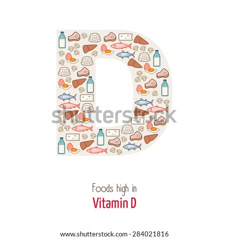 Foods highest in vitamin D composing D letter shape, nutrition and healthy eating concept - stock vector