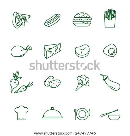 Foods thin line vector icon set - stock vector